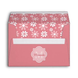 Girly Monogram Cute Pink Daisy Flowers With Name Envelope