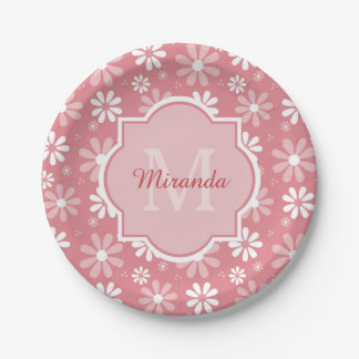 Girly Monogram Cute Pink Daisy Flowers With Name Paper Plate