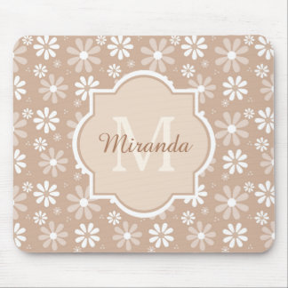 Girly Monogram Cute Tan Daisy Flowers and Name Mouse Pad