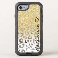 Girly monogram gold glitter leopard watercolor OtterBox defender iPhone 7 case