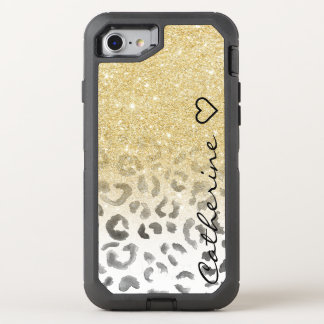 Girly monogram gold glitter leopard watercolor OtterBox defender iPhone 8/7 case