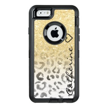 Girly Monogram Gold Glitter Leopard Watercolor Otterbox Defender Iphone Case by girly_trend at Zazzle