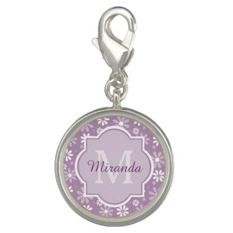 Girly Monogram Light Purple Daisy Flowers and Name Charm