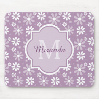 Girly Monogram Light Purple Daisy Flowers and Name Mouse Pad