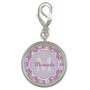 Girly Monogram Light Purple Daisy Flowers and Name Photo Charms