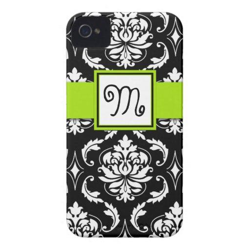 GIRLY MONOGRAM, LIME GREEN, BLACK DAMASK PATTERN Case-Mate iPhone 4 CASE