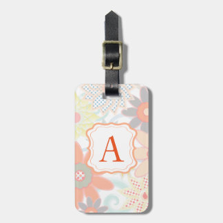 Girly Monogram Pastel Floral Design Luggage Tag