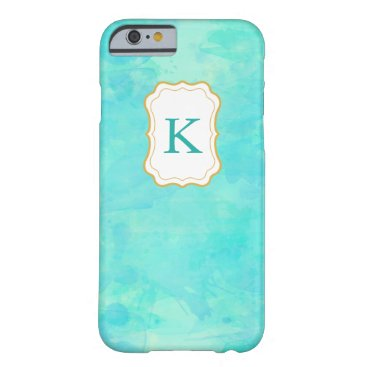 Beach Themed Girly Monogram Pastel Watercolor background Barely There iPhone 6 Case