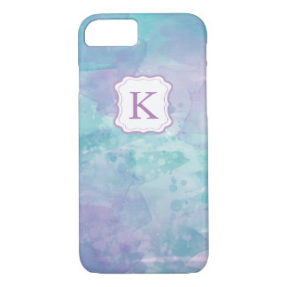 Girly Monogram Pastel Watercolor background iPhone 7 Case