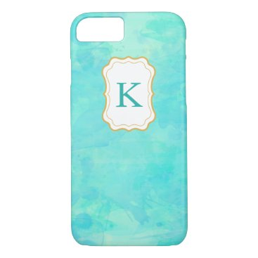 Beach Themed Girly Monogram Pastel Watercolor background iPhone 7 Case