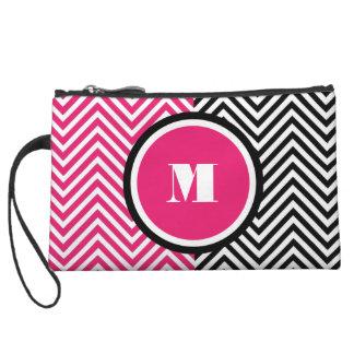 Girly monogram pink black wristlet