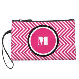 Girly monogram pink black wristlet clutches