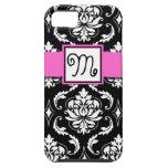 GIRLY MONOGRAM, PINK, BLACK DAMASK PATTERN iPhone 5 COVERS