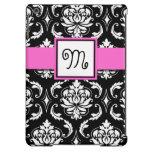 GIRLY MONOGRAM, PINK, BLACK DAMASK PATTERN iPad AIR COVER