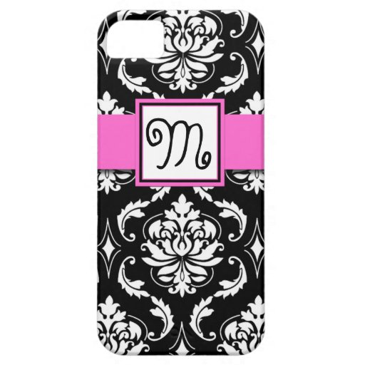 GIRLY MONOGRAM, PINK, BLACK DAMASK PATTERN iPhone 5 CASE