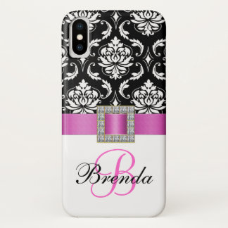 Girly Monogram Pink Ribbon Black White Damask iPhone X Case