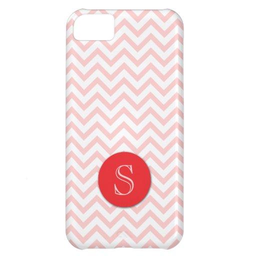 Girly Monogram Pink Zigzag Stripes iPhone 5 Case