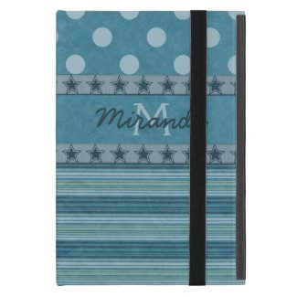 Girly Monogram Polka Dots and Stripes in Blue iPad Mini Case