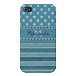 Girly Monogram Polka Dots and Stripes in Blue iPhone 4/4S Cover