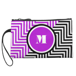 Girly monogram purple black wristlet clutches
