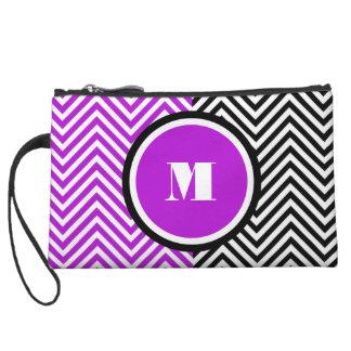 Girly monogram purple black wristlet purse