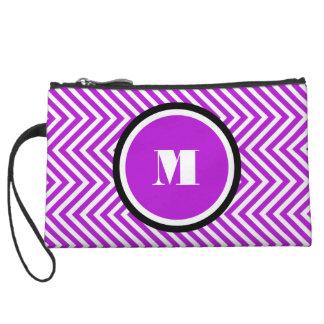 Girly monogram purple black wristlet