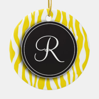 Girly Monogram Yellow Zebra Print Ornament