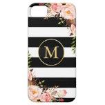 Girly Monogrammed Gold Floral Black White Stripes iPhone SE/5/5s Case