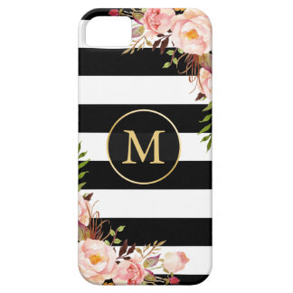 Girly Monogrammed Gold Floral Black White Stripes iPhone SE/5/5s Case