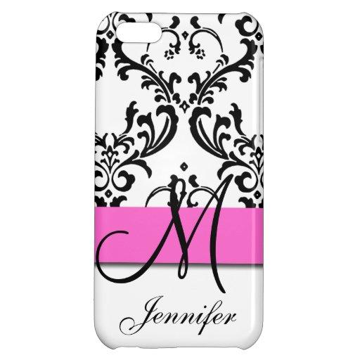 Girly, Monogrammed Pink Black Swirls Damask iPhone 5C Case