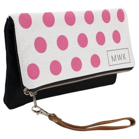 Girly Monogrammed Pink Polka Dots Clutch