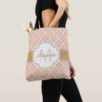 Girly Moroccan Pattern Gold Pink Monogram Tote Bag