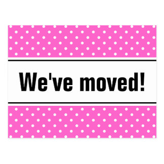 Girly moving postcards   pink and white polka dots