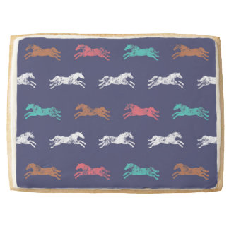 Girly Multi-color Classic Equestrian Horses Jumbo Shortbread Cookie