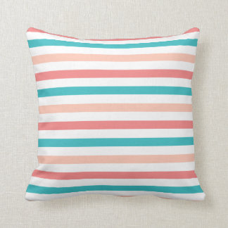 Girly Multicolor Aqua Coral Stripes Throw Pillow