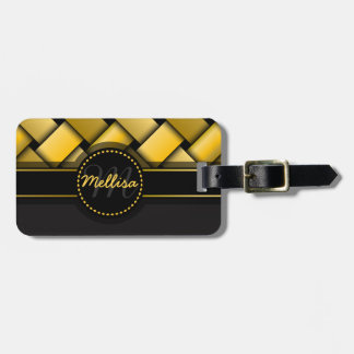 Girly Multicolor Black Gold Weave Pattern Monogram Bag Tag
