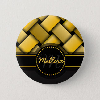 Girly Multicolor Black Gold Weave Pattern Monogram Pinback Button