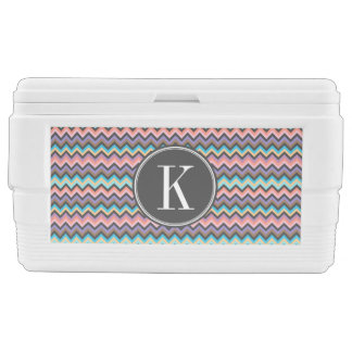 Girly Multicolor Chevron with Charcoal Monogram Ice Chest