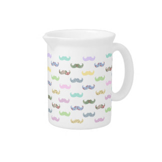 Girly mustache pattern beverage pitcher