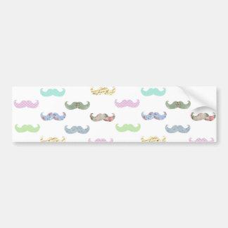 Girly mustache pattern car bumper sticker