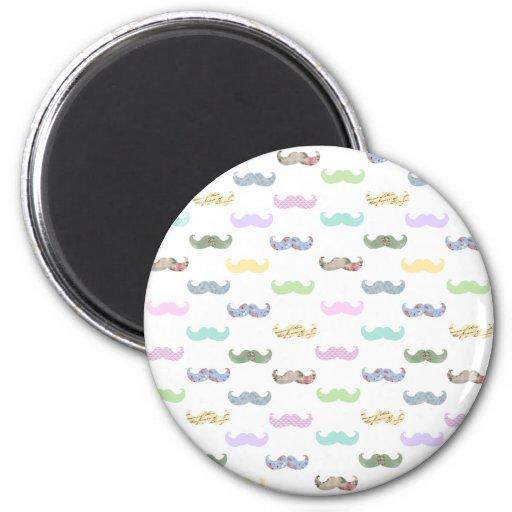 Girly mustache pattern fridge magnets