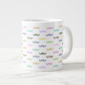 Girly mustache pattern giant coffee mug