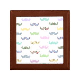 Girly mustache pattern gift box
