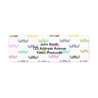 Girly mustache pattern label