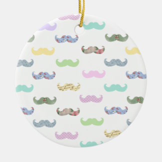 Girly mustache pattern Double-Sided ceramic round christmas ornament