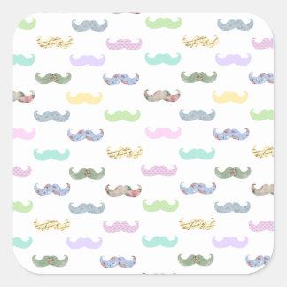 Girly mustache pattern square sticker