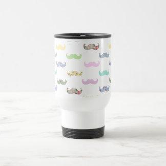 Girly mustache pattern travel mug