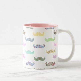 Girly mustache pattern Two-Tone coffee mug