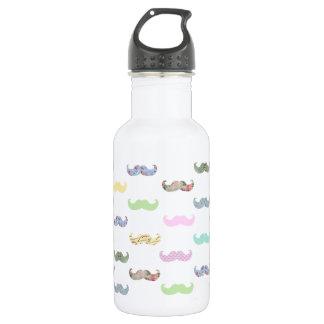 Girly mustache pattern water bottle