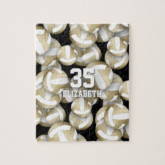 Girly muted gold white volleyballs pattern jigsaw puzzle